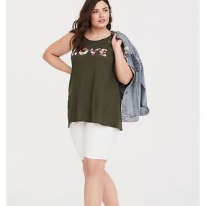 Torrid Olive Lace Love Classic Fit Tank Top
